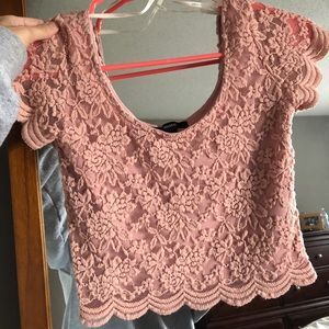 Lacey Pink Crop Top with Shawl